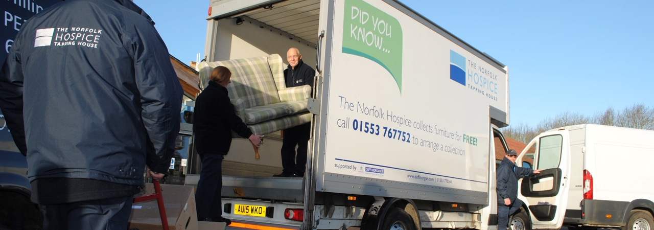 The Hospices van collecting donated furniture