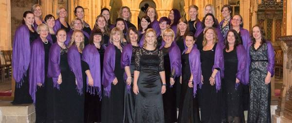 RAF Marham Military Wives in Purple and Black dresses