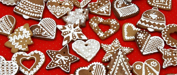 Christmas decorations, gingerbread on red background