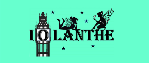 a green background with black fairies and a silhouette of a clock tower with the word Iolanthe in black letters