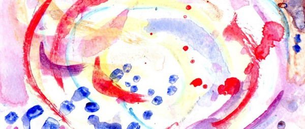 donated postcard which will appear in the exhibition. Colourful splashes and swirls on a white background