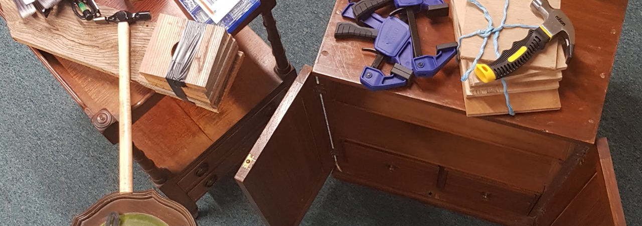 some broken furniture, a selection of wood working tools and craft kits