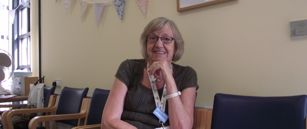 Jackie K Volunteer in The Norfolk Hospice Day Therapy Room