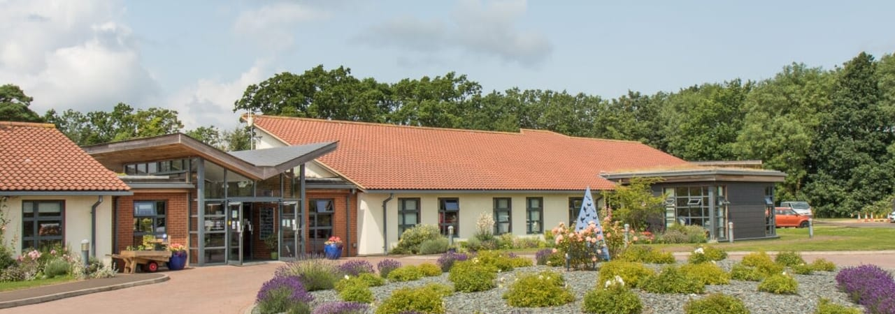 The front of the hospice at lavender time