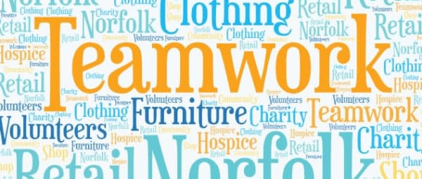 Word Art graphic for charity and teamwork